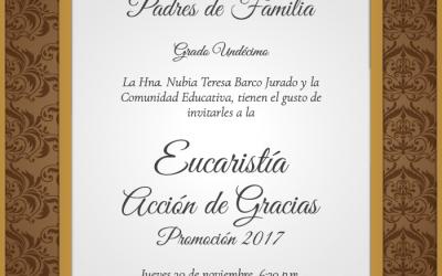 Invitación Eucaristía de Acción de Gracias Promoción 2017